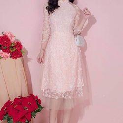 Áo dài cách tân ren màu hồng giá sỉ, giá bán buôn
