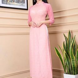 Áo dài hoa nhí phối tay màu hồng giá sỉ