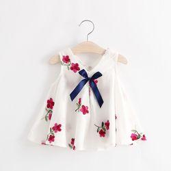 Váy đính nơ dáng baby doll thêu họa tiết xinh xắn giá sỉ