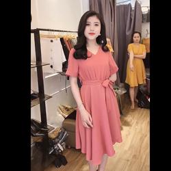 Đầm nữ xòe thắt eo tay ngắn giá sỉ
