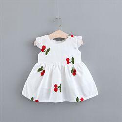 Váy cánh tiên thô mềm 2 lớp thêu cherry xinh xắn giá sỉ