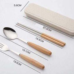 Bộ đũa thìa dĩa inox kèm hộp lúa mạch cao cấp giá sỉ, giá bán buôn
