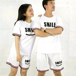 Đồ bộ thể thao nam nữ in chữ SMILE giá sỉ