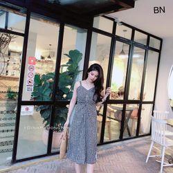 váy 2 dây xòe đẹp bản to suông dáng dài kẻ caro xoắn eo BN 25327 Kèm Ảnh Thật giá sỉ