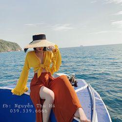 set đồ nữ đẹp chất cá tính dễ thương giá rẻ áo lụa bèo quần ống rộng xẻ BN 89971 Kèm Ảnh Thật giá sỉ