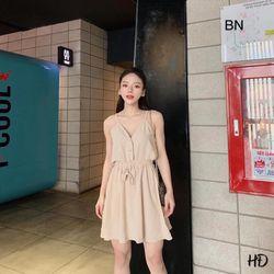 set đồ nữ đẹp chất cá tính dễ thương giá rẻ áo 2 dây cúc dọc chân váy đũi BN 86675 Kèm Ảnh Thật giá sỉ