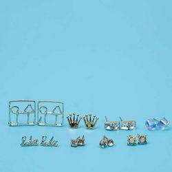 Bông Tai Set 8 Đôi Vương Miện Hình Vuông Bảy Màu Mạ Vàng - Mã BT948 giá sỉ
