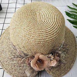 Nón Cói Viền Voan Kèm Hoa Hồng Màu Be - Mã NC085 giá sỉ