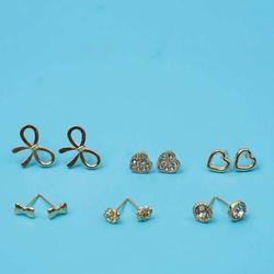 Bông Tai Set 6 Đôi Trái Tim Đính Đá Nơ Lớn Mạ Vàng - Mã BT961 giá sỉ