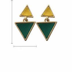 Bông Tai Form Ngắn Phối Hai Hình Tam Giác Vàng Xanh Lá - Mã BT910 giá sỉ