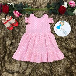 Váy đầm dạo phố annachipla châm bi hồng tay đỗ P1792 giá sỉ