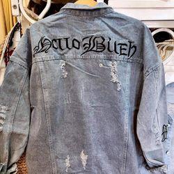 Áo Khoác Jeans Nam Thêu Ảnh Thật giá sỉ
