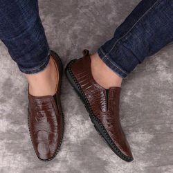 Giày lười nam-giày nam da bò dập vân Gl-002 giá sỉ