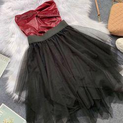 Sét áo nhung chân váy lưới giá sỉ