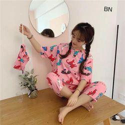 đồ bộ mặc nhà nữ dễ thương bằng vải thun đẹp giá rẻ lửng hoạt hình kèm túi đựng BN 77236 Kèm Ảnh Thật giá sỉ