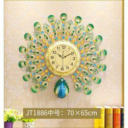Đồng hồ treo tường chim công xanh xoè cánh
