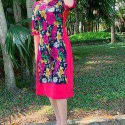 đầm áo dài cách tân phối màu hồng giá sỉ