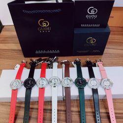 Đồng hồ nữ GUOU 8217 mặt đá xoay cách điệu