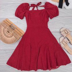 Đầm bi đỏ cột nơ D70 giá sỉ