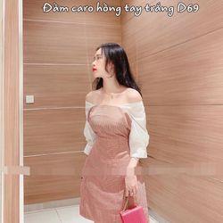 Đầm caro hồng tay trắng D69 giá sỉ
