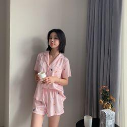 Pijama Đồ bộ mặc nhà lụa QC cao cấp HT tim các màu trắng hồng giá sỉ