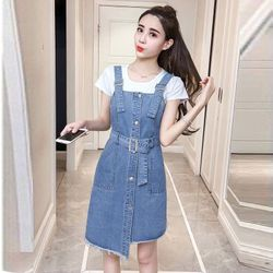Đầm Yếm Jean Nút Gài Lệch Tà Kèm Thắt Lưng giá sỉ, giá bán buôn