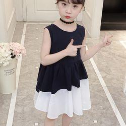 Chiếc váy xanh than phối vạt màu trắng giá sỉ