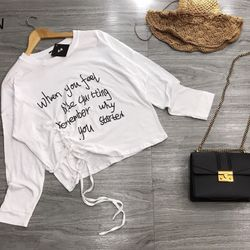 Áo thun nữ đẹp kiểu hàn quốc dễ thương giá sỉ phông giấy croptop rút eo giá sỉ