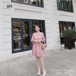 váy suông đẹp dài hàn quốc mùa hè công sở đũi bèo xếp tầng BN 08410 Kèm Ảnh Thật giá sỉ