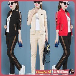 đồ nữ thể thao đẹp gồm áo khoác và quần Nhung cao cấp áo thun trong 100 cotton cao cấp 2019 giá sỉ