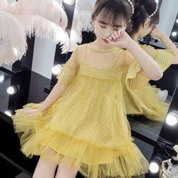 Váy công chúa 2 trong 1 váy caro 2 dây dáng xòe xinh xắn váy voan lưới mềm đuôi cá tay lo giá sỉ