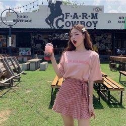Set áo phông và chân váy kẻ Hàn Quốc giá sỉ