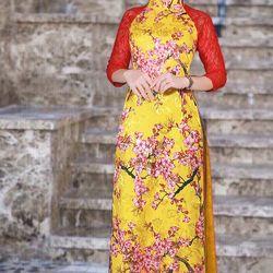 áo dài truyền thống phối tay ren giá sỉ