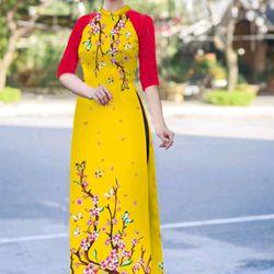 áo dài truyền thống phối tay ren đỏ giá sỉ, giá bán buôn