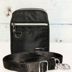 Túi đeo chéo vải dù màu đen phối dây kéo bạc sáng TDC0004 giá sỉ