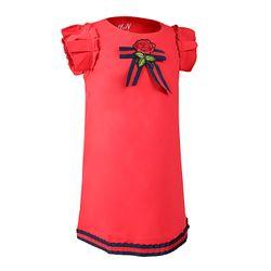 Đầm Bé Gái Tay Ngắn Đính Nơ Hoa Hồng Xinh Xắn giá sỉ
