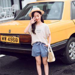 Bộ áo thun kẻ ngang nâu nhạt nhẹ nhàng kiểu Hàn Quốc Quần short jean cao cấp dày dặn mềm mịn giá sỉ