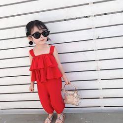 Bộ đồ bé gái áo tai bèo màu đỏ - BB02D giá sỉ