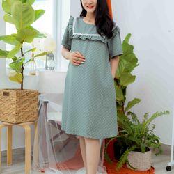 Đầm bầu cổ bèo xanh lá giá sỉ