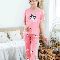 Bộ bầu mặc nhà in mèo màu hồng giá sỉ
