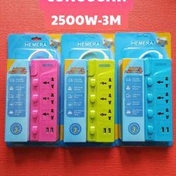 Ổ Dài Hemera Công Suất Cao Chịu Tải 2500w Dây 3m - 2 Chui Cắm USB
