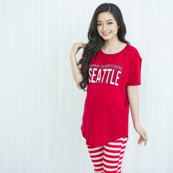 Bộ bầu mặc nhà quần kẻ sọc visso in seattle màu đỏ giá sỉ