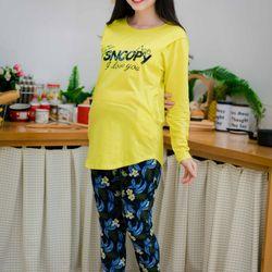 Bộ bầu mặc nhà TD in Snoopy màu vàng giá sỉ