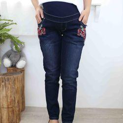Quần bầu jeans đậm thêu hoa giá sỉ