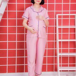 Bộ bầu pyjama lụa xước tay ngắn quần dài 2 túi hồng ruốc giá sỉ