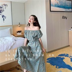 set đồ nữ đẹp chất cá tính dễ thương giá rẻ áo caro trễ vai chân váy tầng BN 58623 Kèm Ảnh Thật giá sỉ