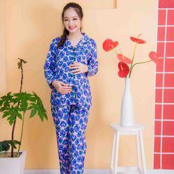 Bộ bầu pyjama kate tay dài quần dài tím giá sỉ