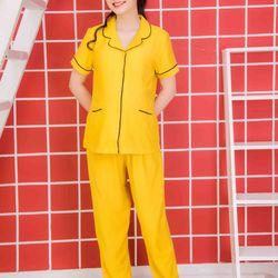 Bộ bầu pyjama lụa xước tay ngắn quần dài 2 túi vàng giá sỉ