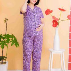Bộ bầu pyjama kate tay ngắn quần dài tím giá sỉ
