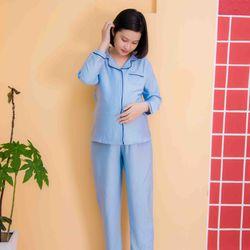 Bộ bầu Pyjama lụa xướt tay dài xanh giá sỉ